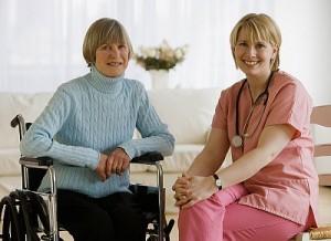Portrait of nurse and senior woman